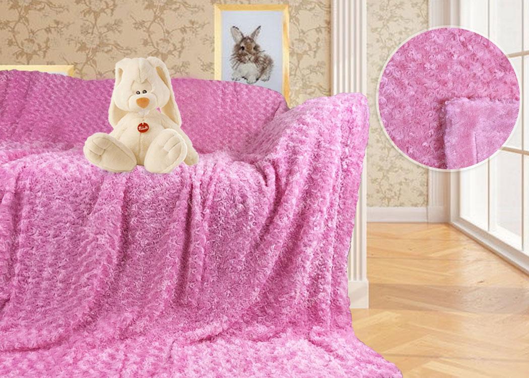 Меховой плед-покрывало Барашек розовый