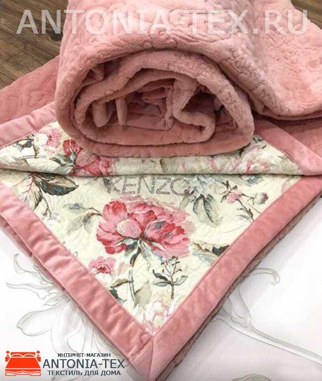 Велюровое покрывало Kenzo двухстороннее Розовый