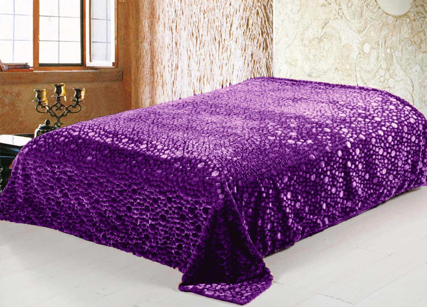 Меховой плед-покрывало Пузыри Фиолетовый