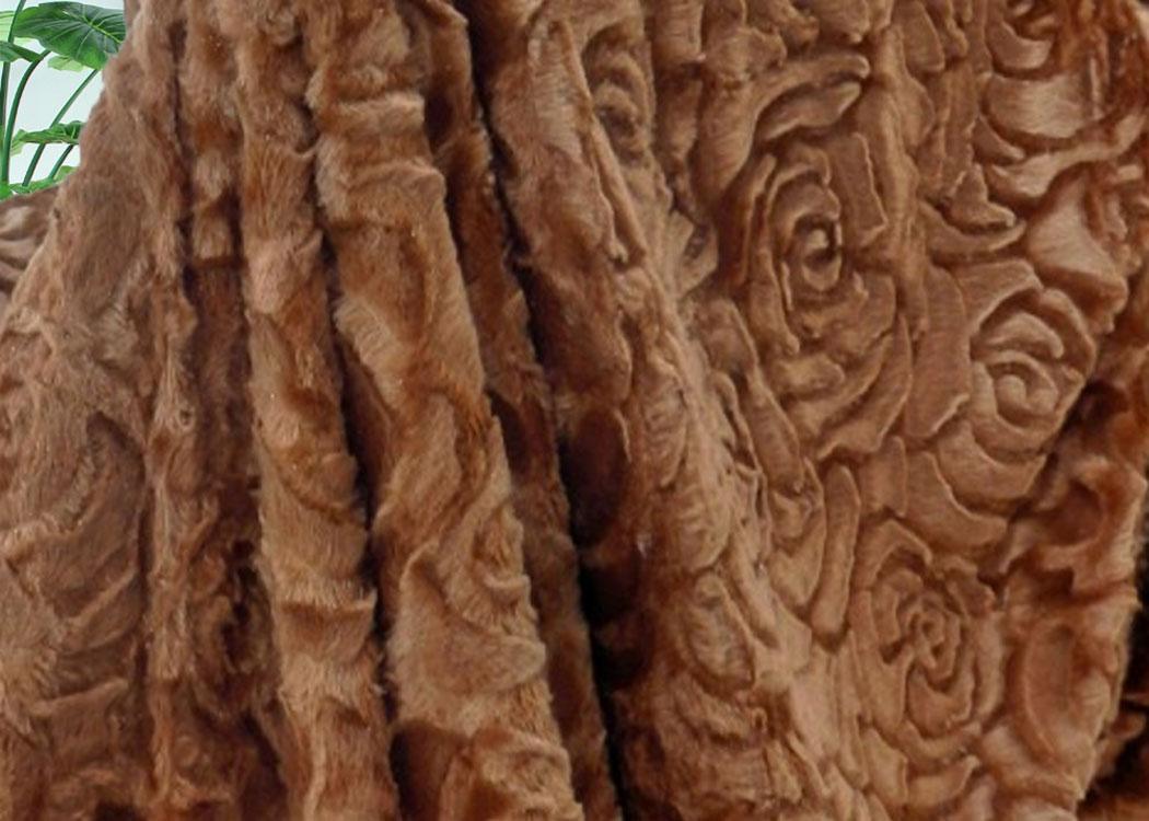 Меховой плед-покрывало Роза Коричневая