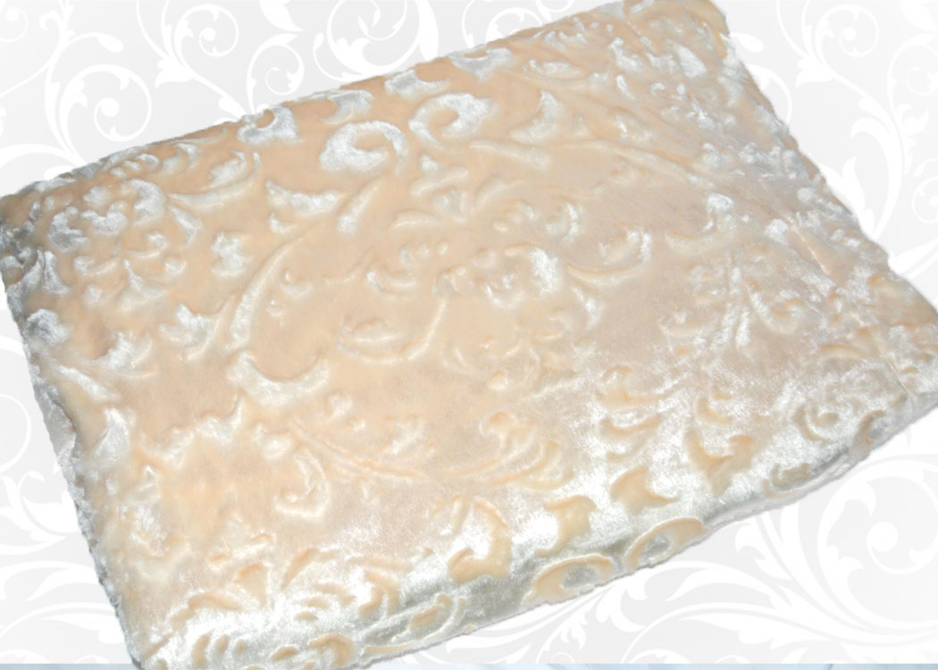 Меховой плед-покрывало Вензель Персик
