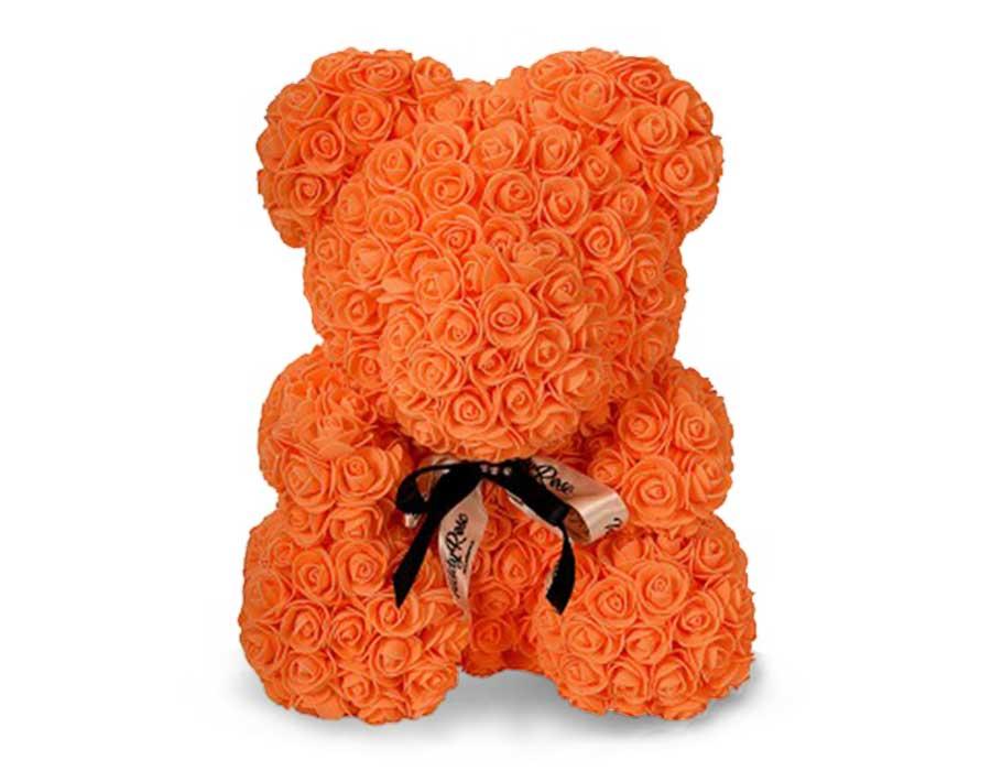 Мишка из роз 40 см. оранжевый в подарочной коробке