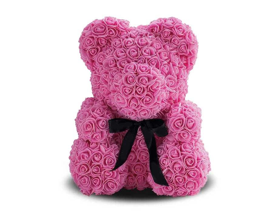 Мишка из роз 40 см. розовый в подарочной коробке