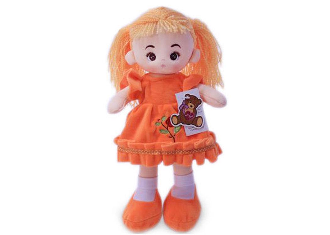 Мягкая кукла Алёна в рыжем платье муз.
