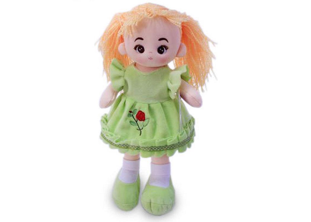 Мягкая кукла Алёна в салатовом платье муз.