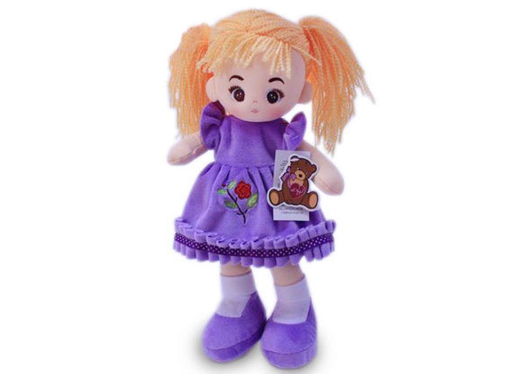 Мягкая кукла Алёна в сиреневом платье муз.