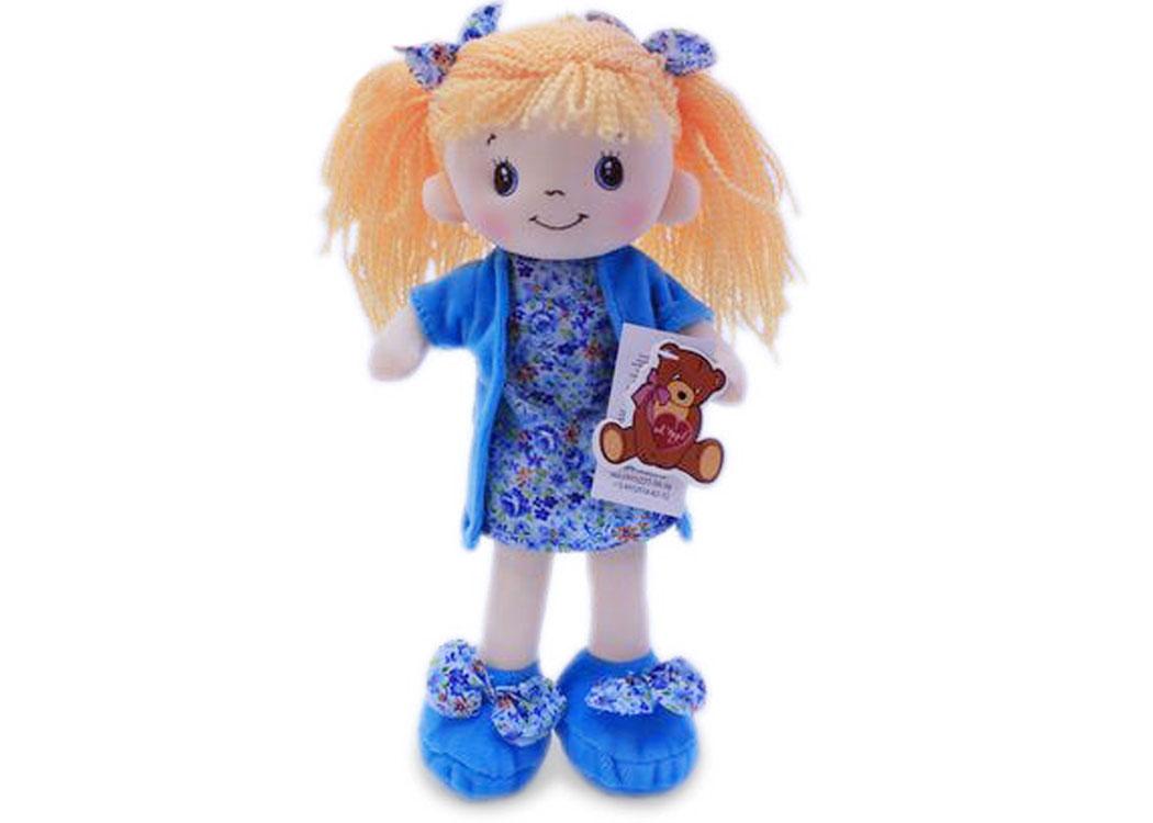 Мягкая кукла Алиса в голубом платье муз.
