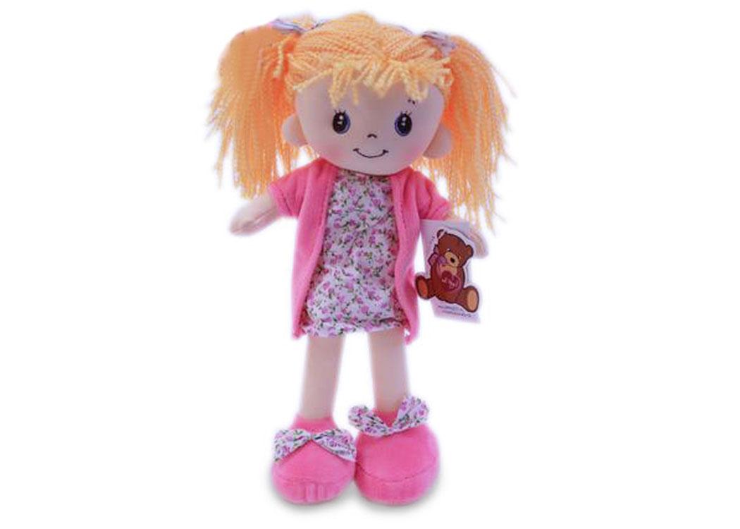 Мягкая кукла Алиса в розовом платье муз.