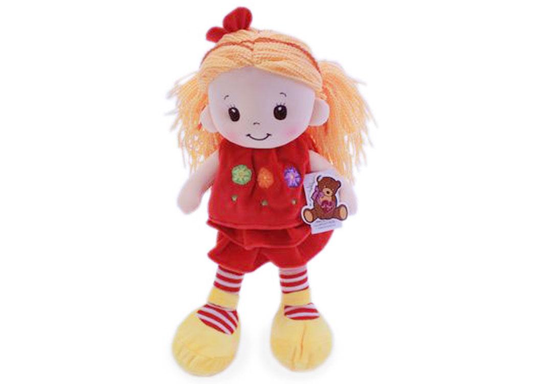Мягкая кукла Арина в красном платье муз.