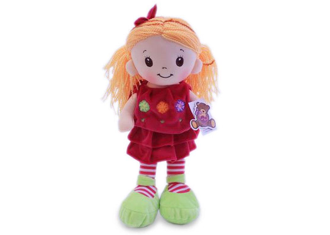 Мягкая кукла Арина в малиновом платье муз.