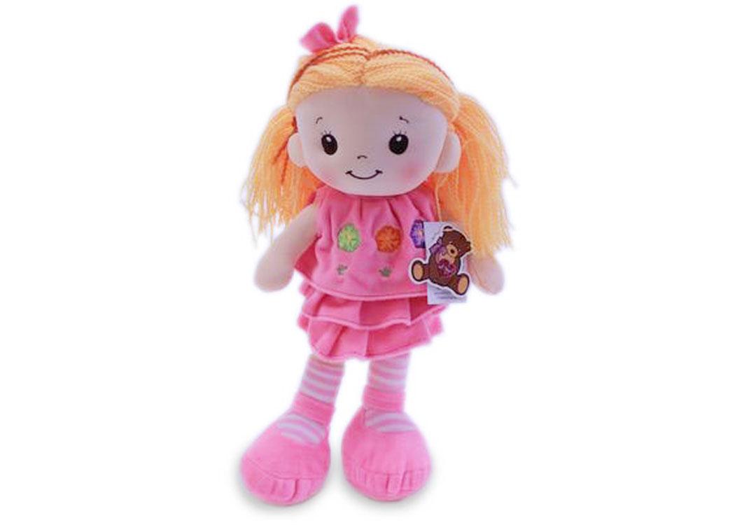 Мягкая кукла Арина в розовом платье муз.