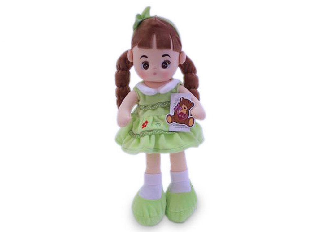 Мягкая кукла Инна в салатовом платье муз.