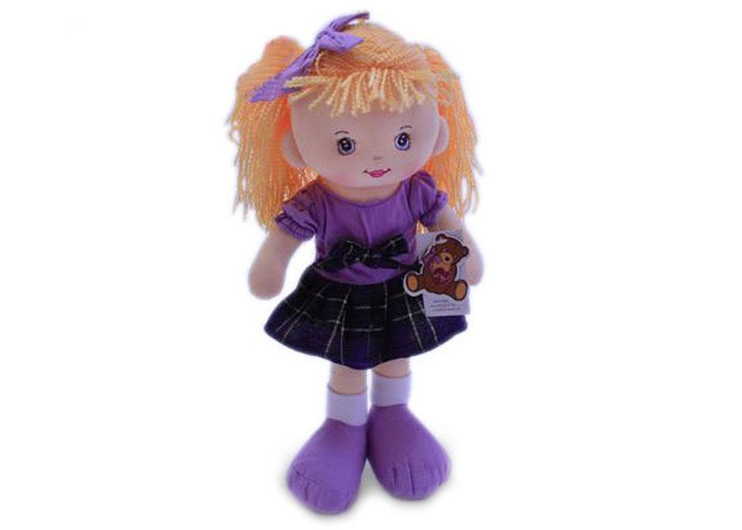 Мягкая кукла Ирина в сиреневом платье муз.