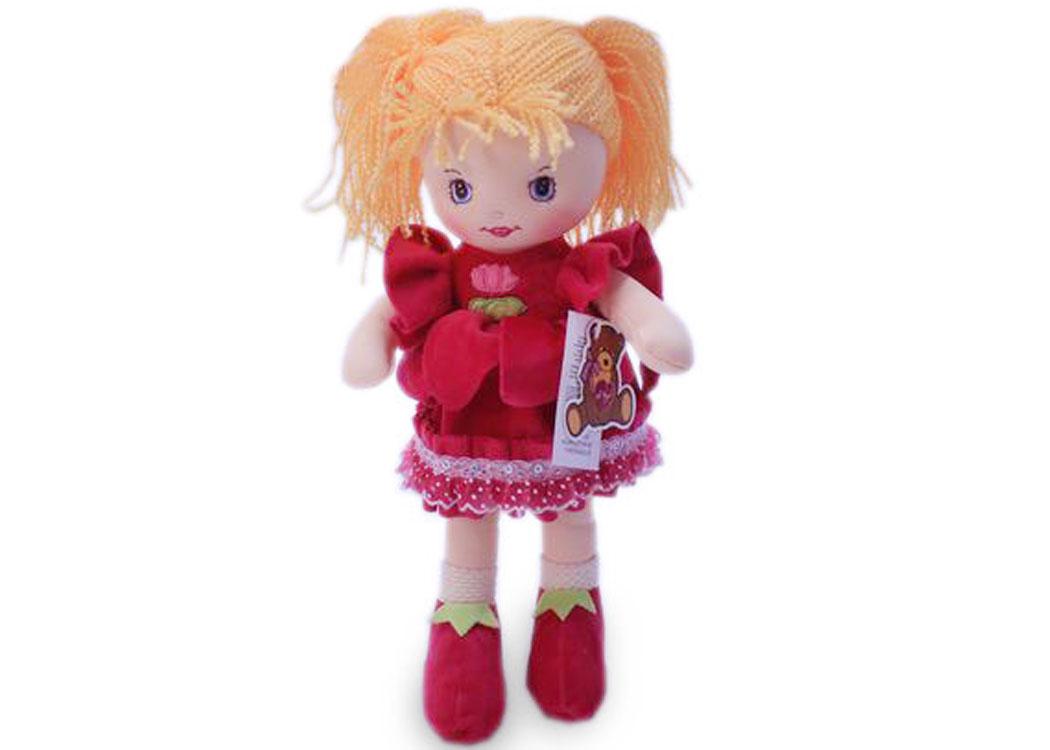 Мягкая кукла Катя в малиновом платье муз.