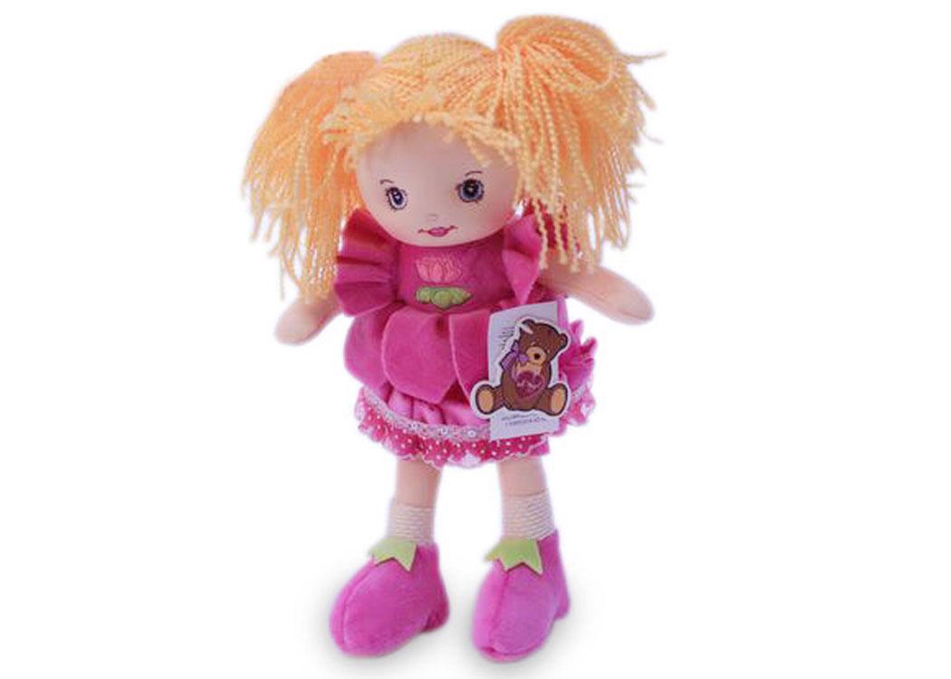 Мягкая кукла Катя в розовом платье муз.