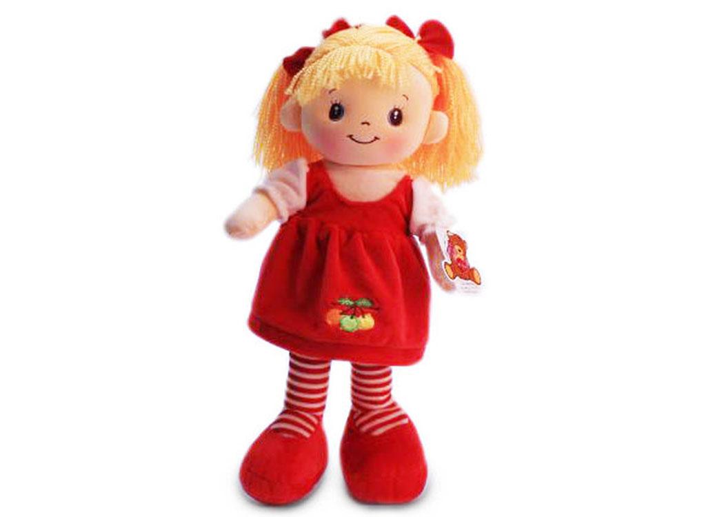 Мягкая кукла Маша в красном платье муз.