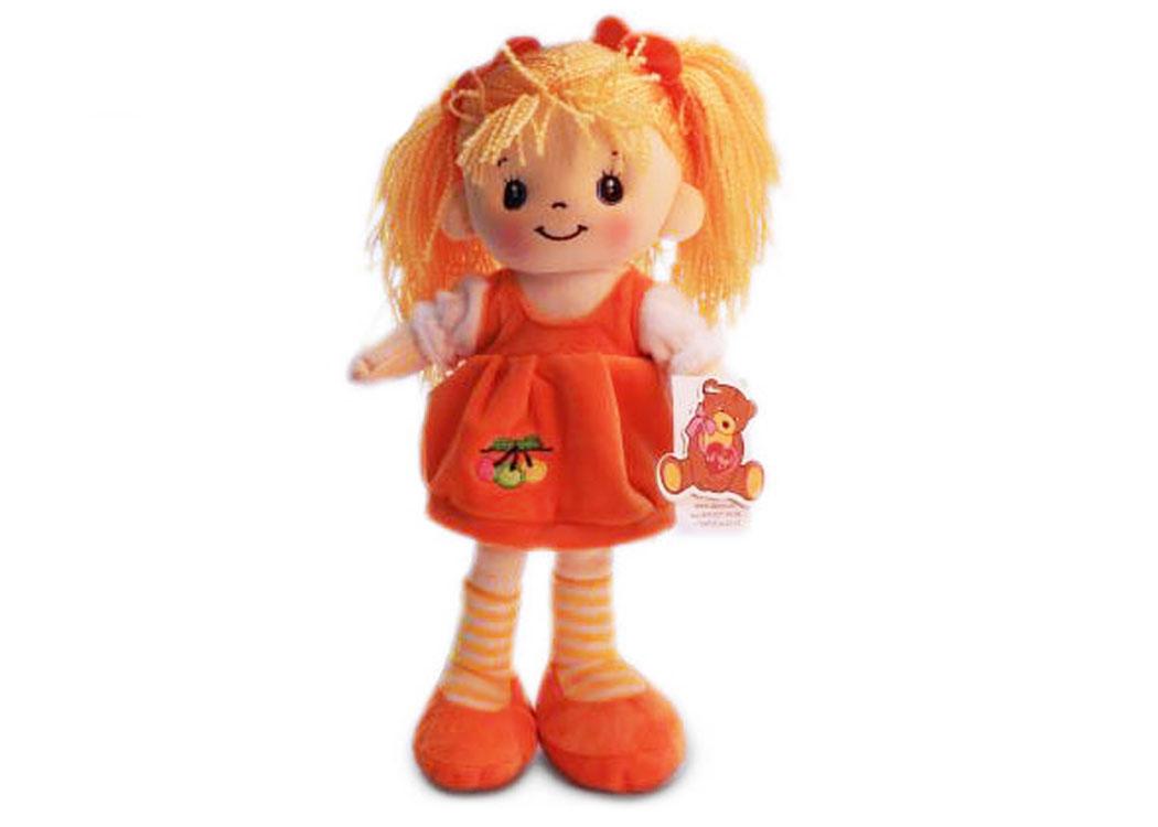 Мягкая кукла Маша в оранжевом платье муз.