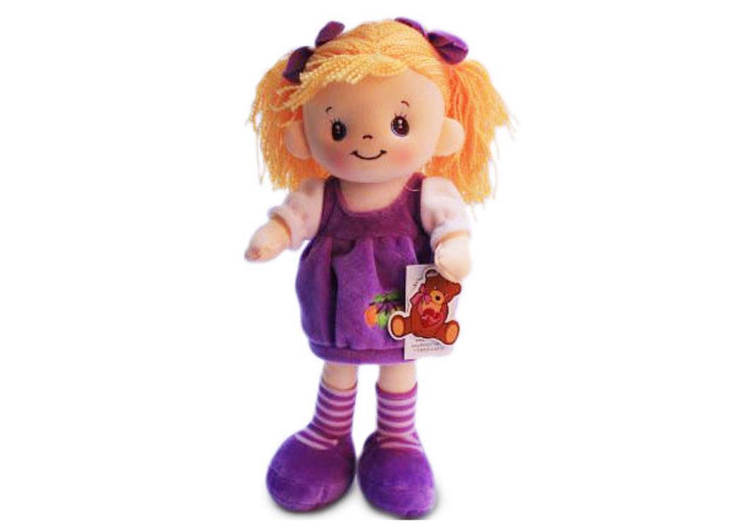 Мягкая кукла Маша в сиреневом платье муз.