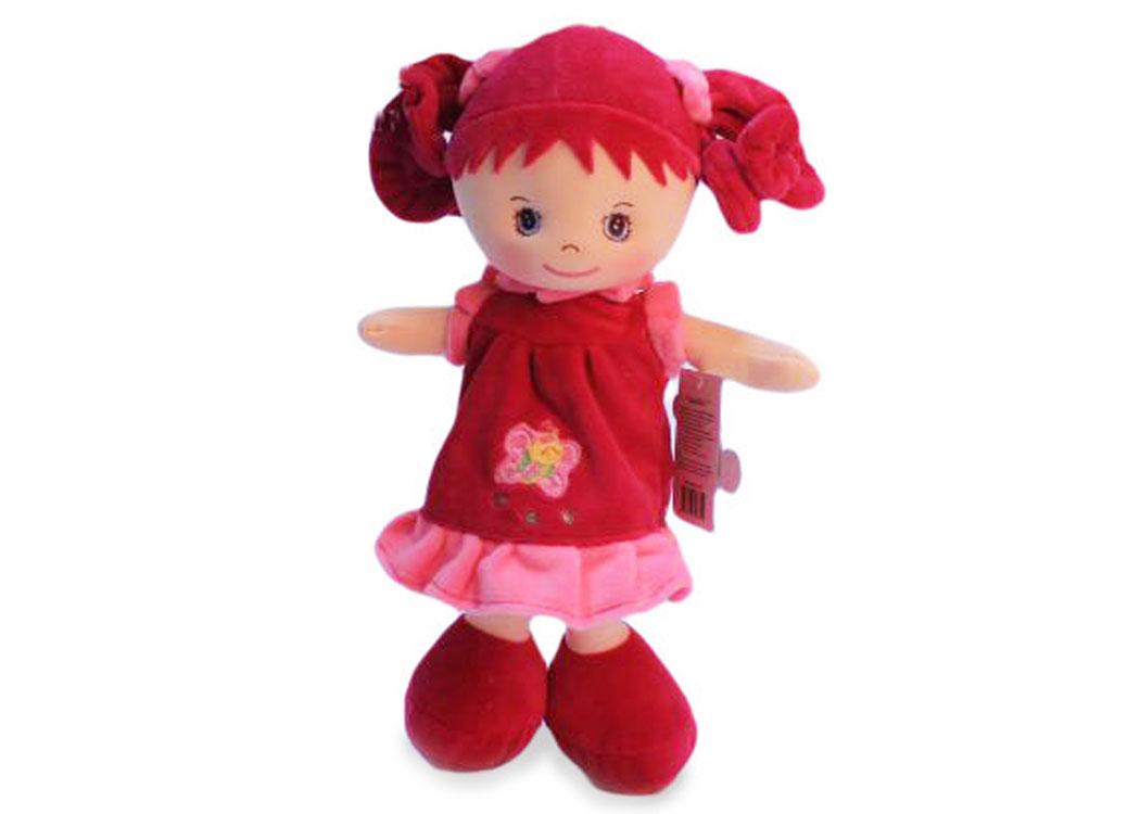 Мягкая кукла Мила в красном платье муз.