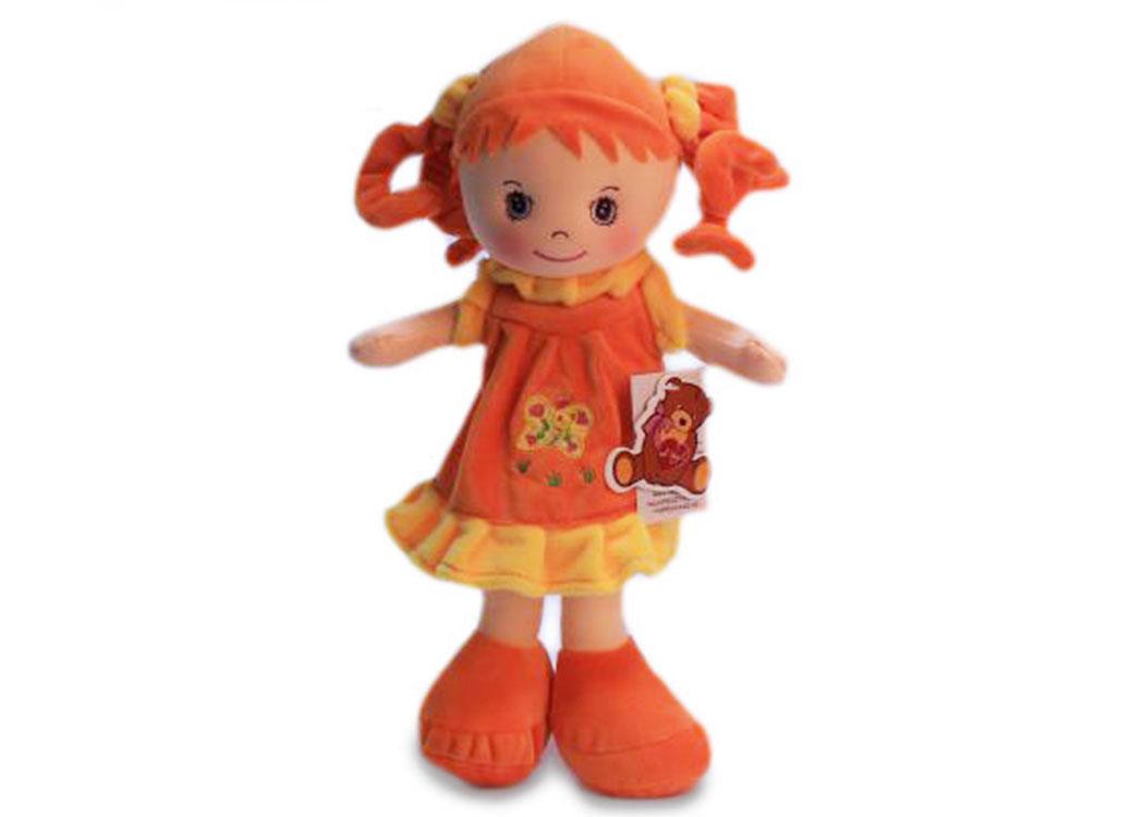 Мягкая кукла Мила в оранжевом платье муз.