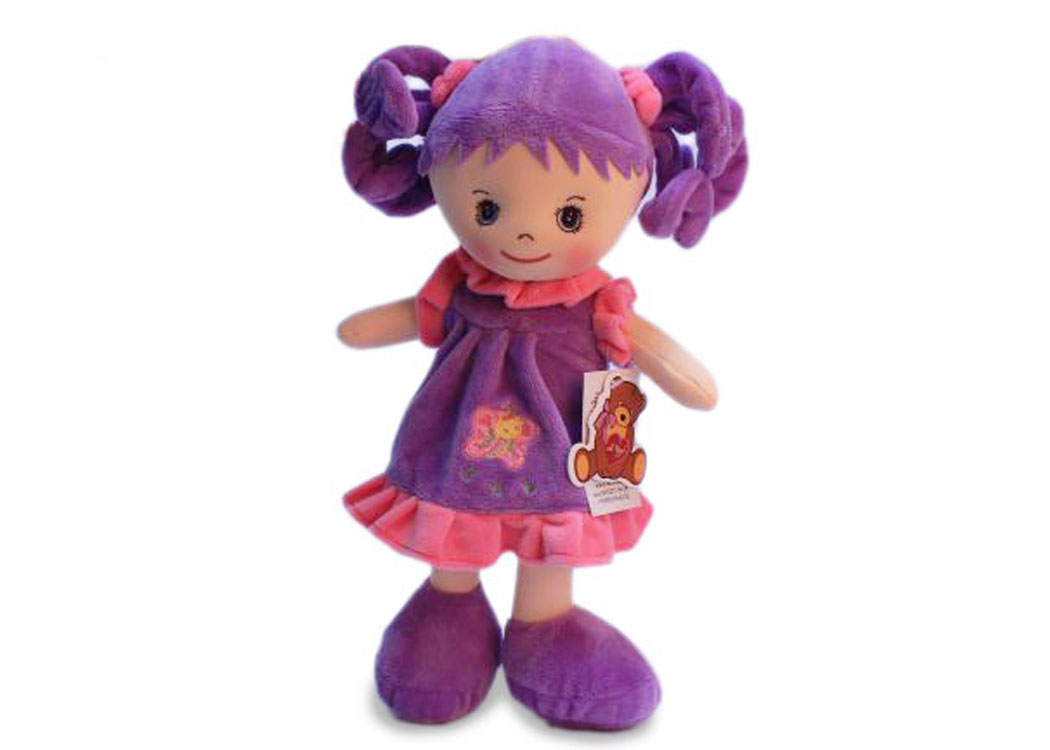 Мягкая кукла Мила в сиреневом платье муз.