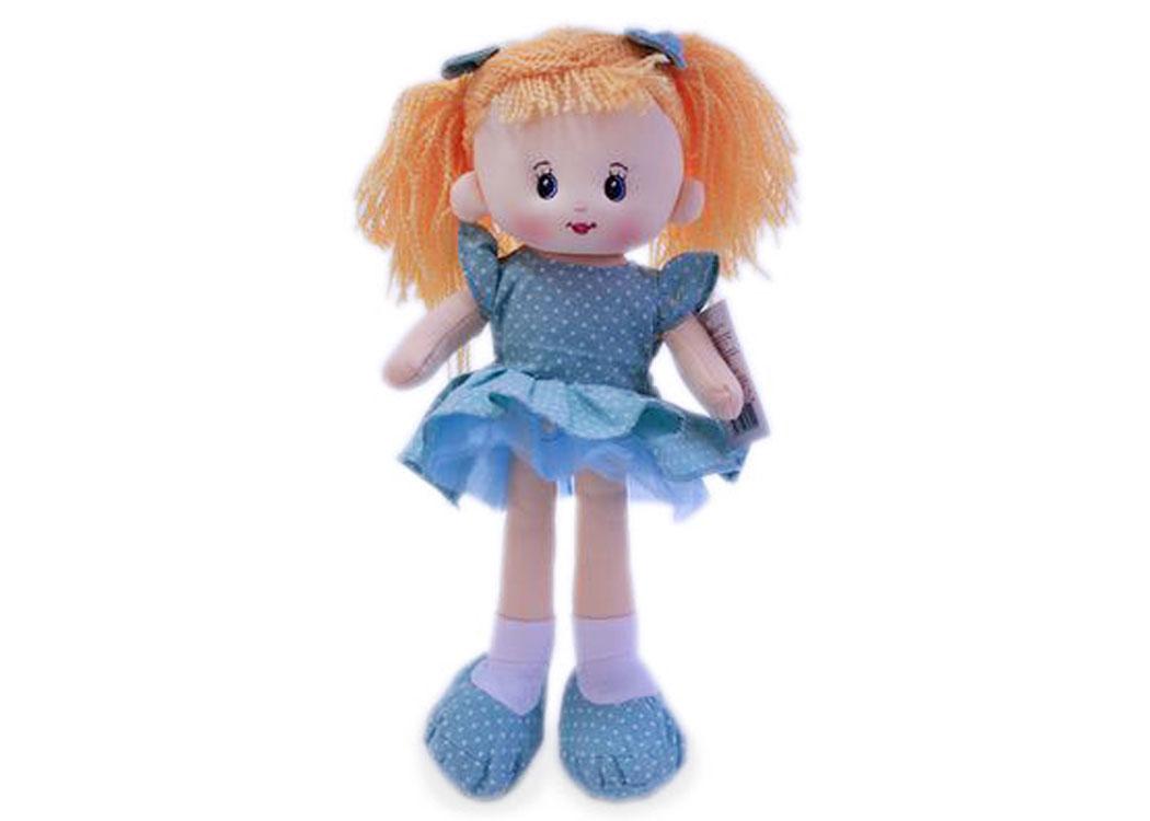 Мягкая кукла Наташа в сиреневом платье муз.