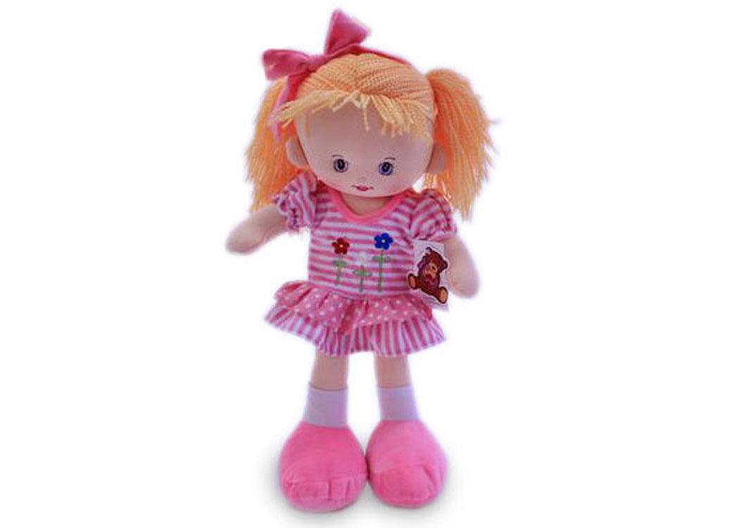 Мягкая кукла Нина в розовом платье муз.