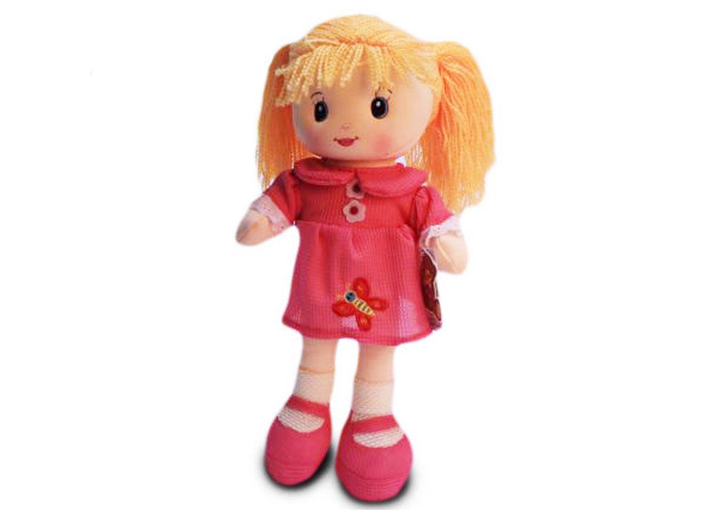Мягкая кукла Света в розовом платье муз.