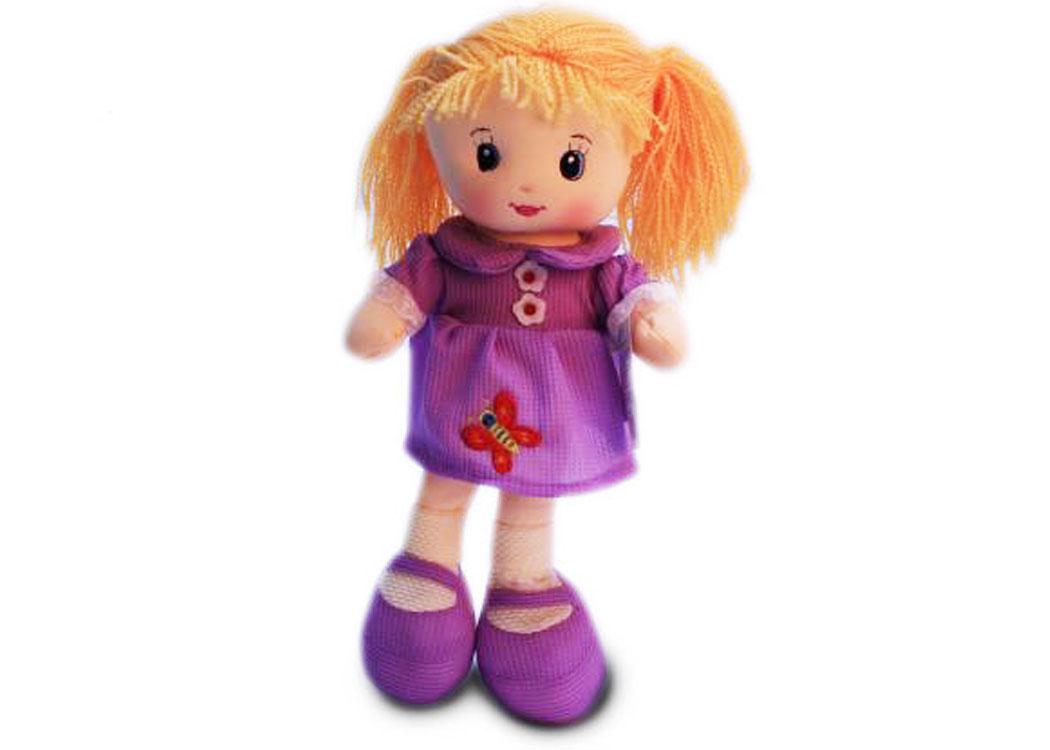 Мягкая кукла Света в сиреневом платье муз.
