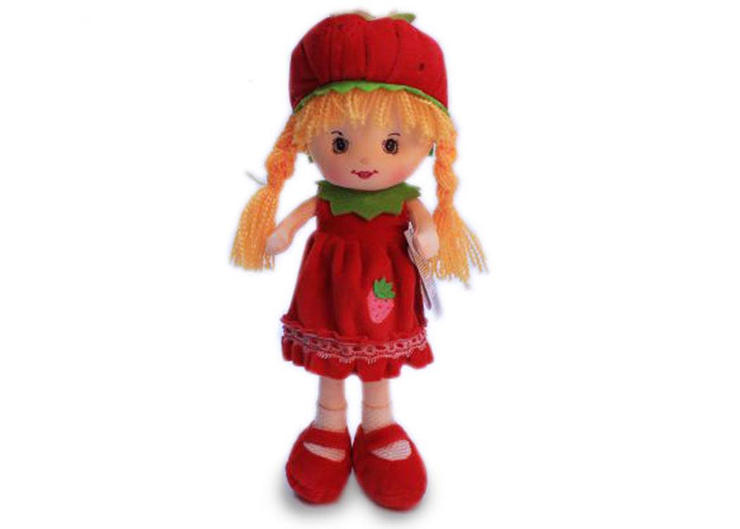 Мягкая кукла Таня в красном платье муз.