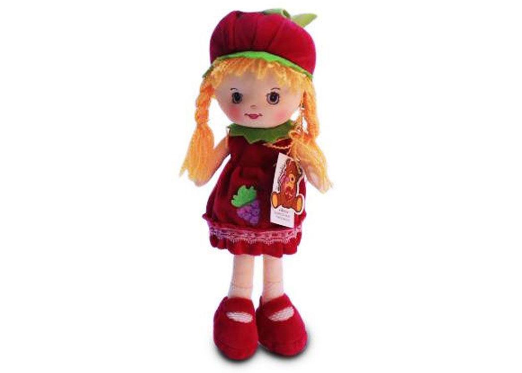Мягкая кукла Таня в малиновом платье муз.