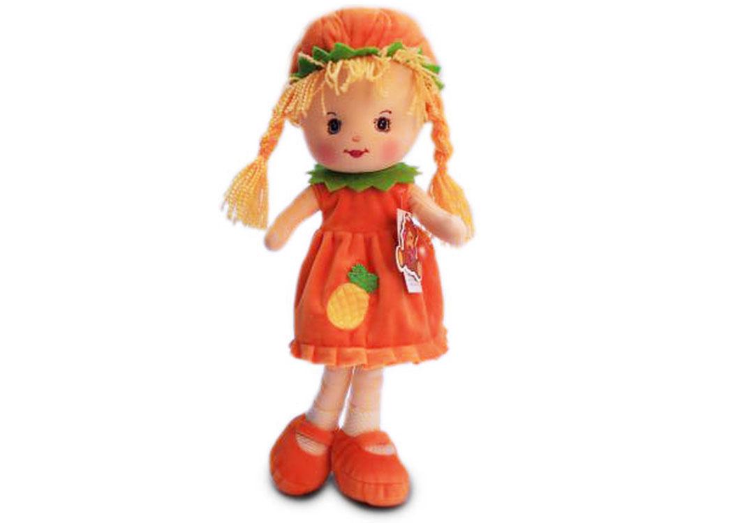 Мягкая кукла Таня в оранжевом платье муз.
