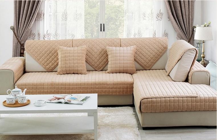 Накидка на диван и 2 кресла мех шиншилла кубик бежевый