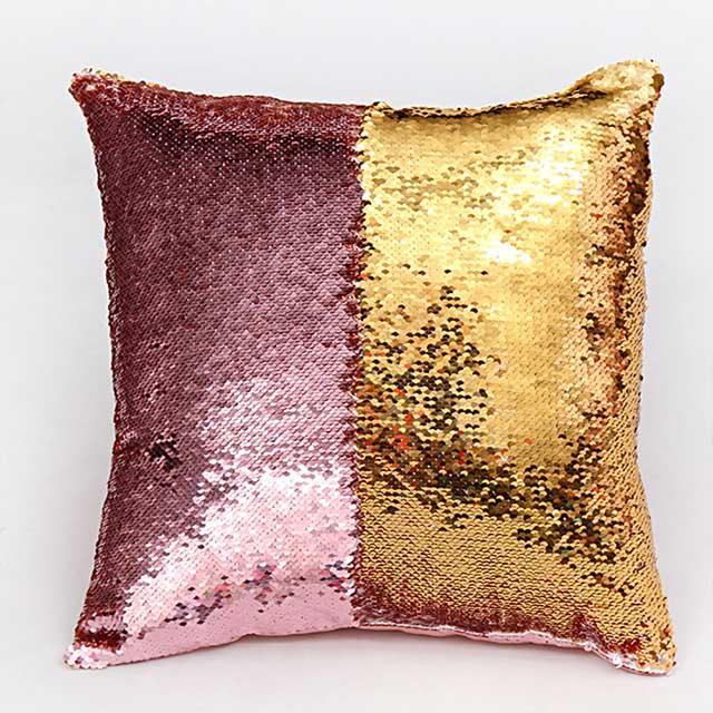 Наволочка с пайетками золотисто-розовый