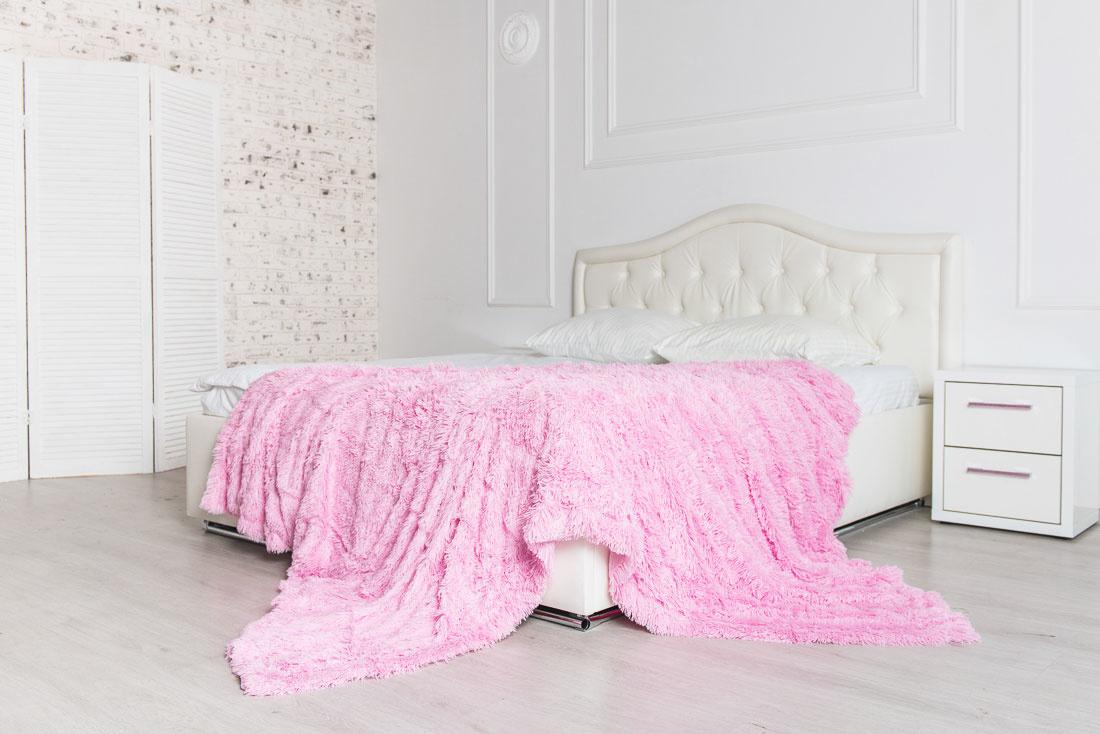 Плед-травка с длинным ворсом Розовый
