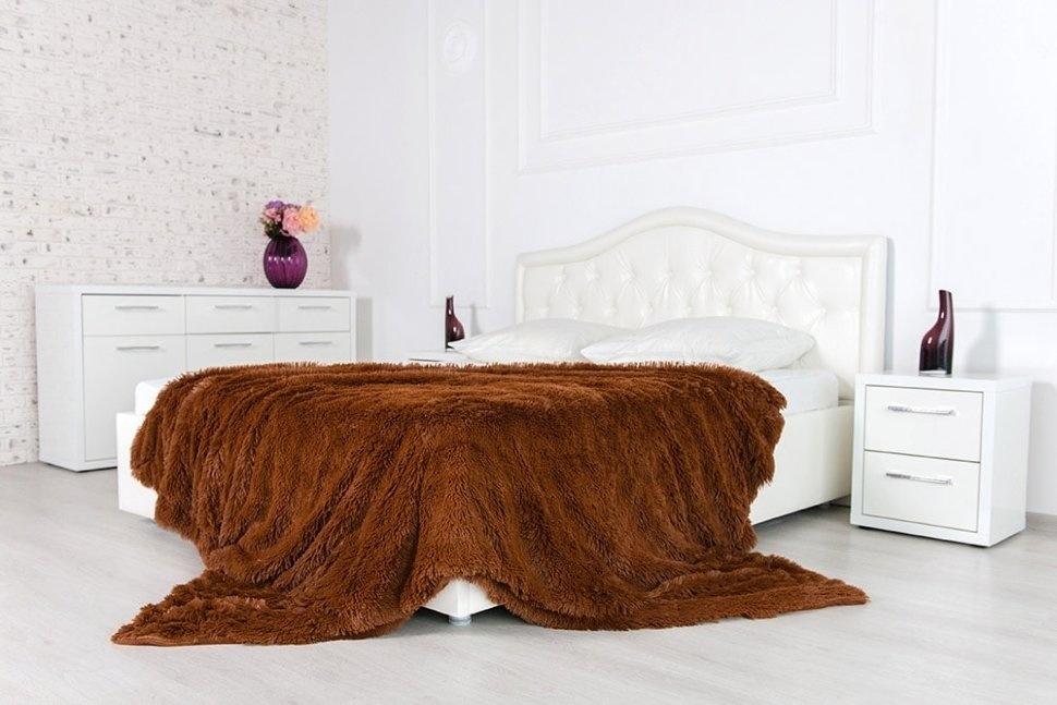Плед-травка с длинным ворсом Шоколадный