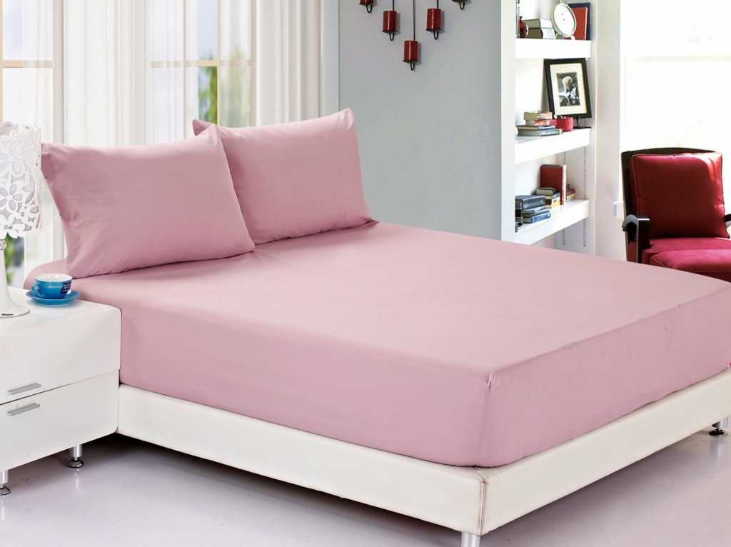 Простынь на резинке Valtery джерси розовый (С)