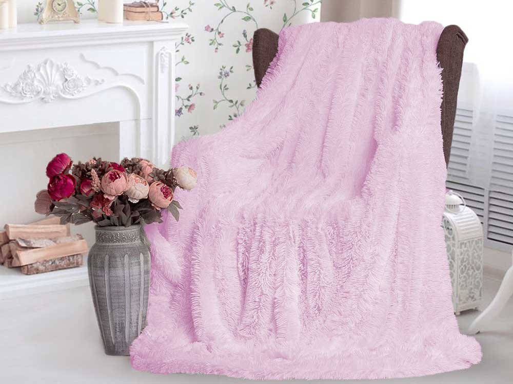 Плед-травка с длинным ворсом Бледно-розовый