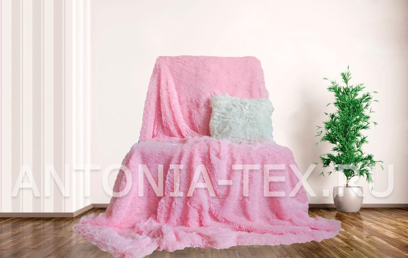 Пушистый плед-травка с длинным ворсом Лиора (Нежно-розовый)