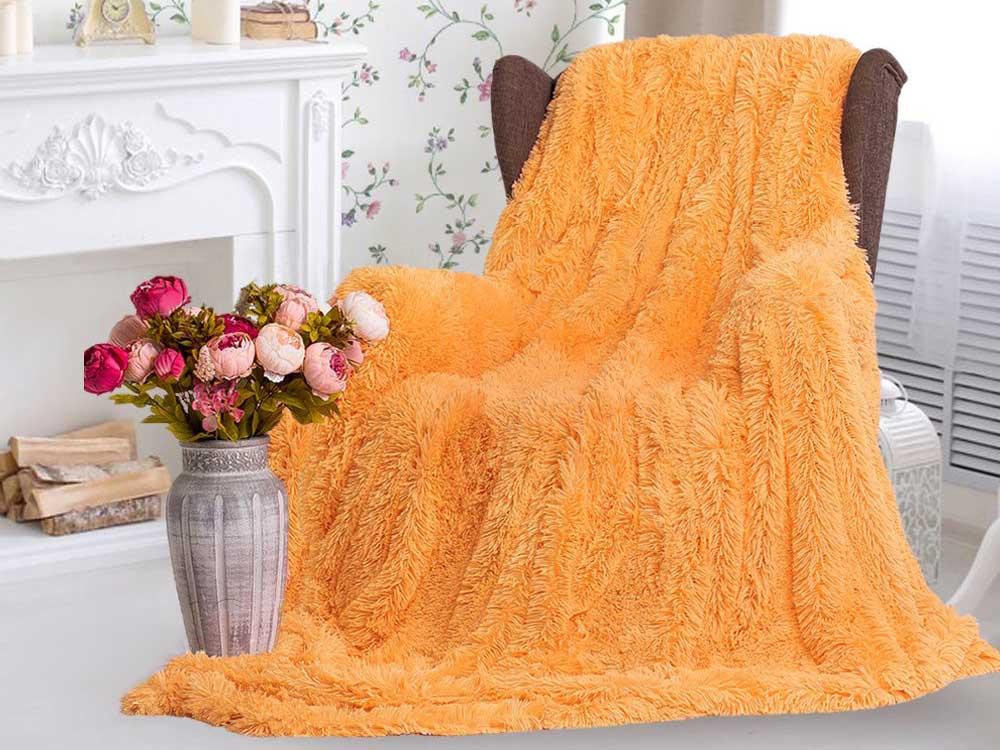 Плед-травка с длинным ворсом Оранжевый