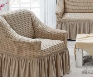 Чехол на трехместный диван и 2 кресла Juanna Бежевый