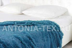 Плед-травка с длинным ворсом Морская волна