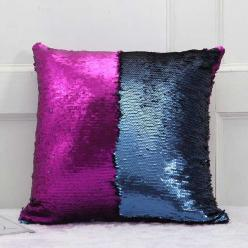 Наволочка с пайетками фиолетово-синий