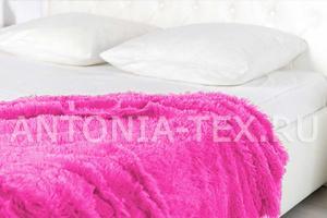 Плед-травка с длинным ворсом ярко-розовый