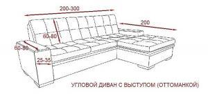 Чехол на угловой диван с выступом (оттоманкой) справа Горчица