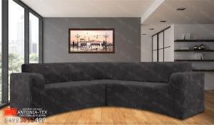 Чехол на угловой диван плюшевый Venera Soft Антрацит