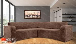 Чехол на угловой диван плюшевый Venera Soft Какао