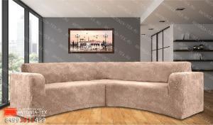 Чехол на угловой диван плюшевый Venera Soft Капучино