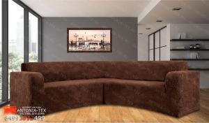 Чехол на угловой диван плюшевый Venera Soft Коричневый