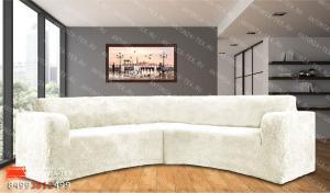 Чехол на угловой диван плюшевый Venera Soft Молочный